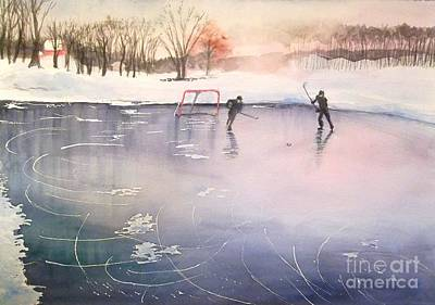 Playing On Ice Art Print by Yoshiko Mishina