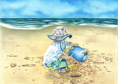 Playing On The Beach Art Print