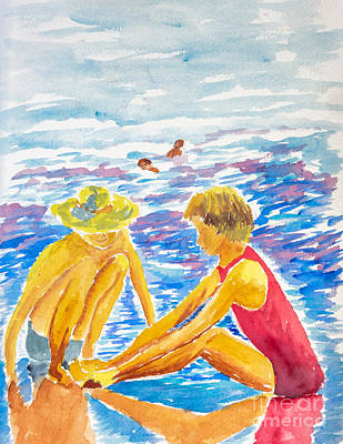 Painting - Playing On The Beach by Walt Brodis