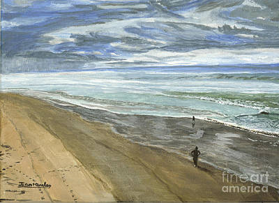 Painting - Playing On The Oregon Coast by Ian Donley
