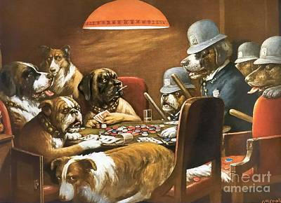 Dogs Playing Painting - Playing Poker And Got Busted by Cassius Marcellus Coolidge