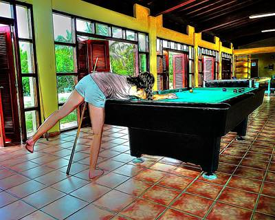 Photograph - Playing Pool - Comic Strip by Pennie  McCracken