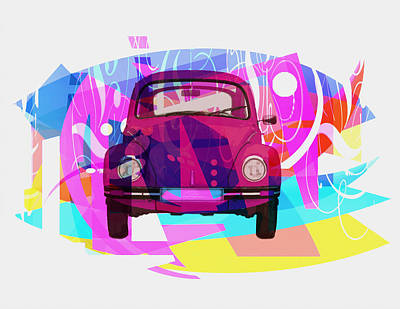 Beetle Drawing - Playing Shapes Cars 02 by Joost Hogervorst