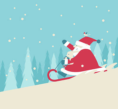 Playing Snow Sled Art Print by Akindo