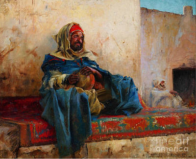 Playing The Derbakeh Biskra Art Print