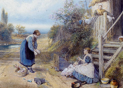 Myles Birket Foster Digital Art - Playing With Baby by Myles Birket Foster
