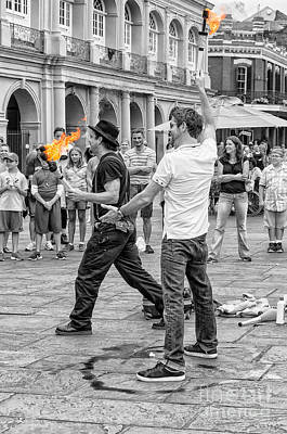 Mannequin Dresses Rights Managed Images - Playing with Fire in Jackson Square Royalty-Free Image by Kathleen K Parker