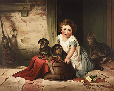 Pup Drawing - Playing With Friends Circa 1850 by Aged Pixel