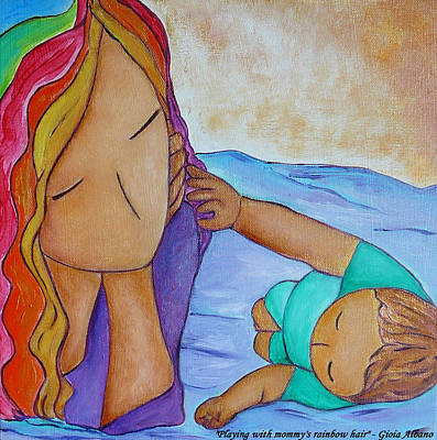 Playing With Mommy's Rainbow Hair Art Print