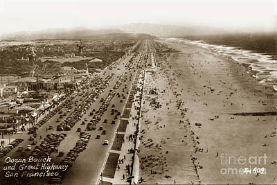 Photograph - Playland-at-the-beach With The Big Dipper Roaster View From Sutro Heights Park Circa 1940 by California Views Archives Mr Pat Hathaway Archives