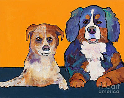 Australian Cattle Dog Painting - Playmates by Pat Saunders-White