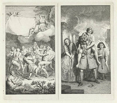 Clearing Drawing - Playwright Paul Scarron Dances With Satyrs by Fauns And Maenads