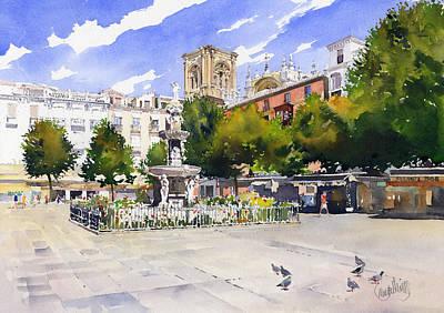 Plaza Bib Rambla Painting - Plaza Bib Rambla by Margaret Merry