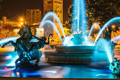 Plaza Blue Fountain Art Print