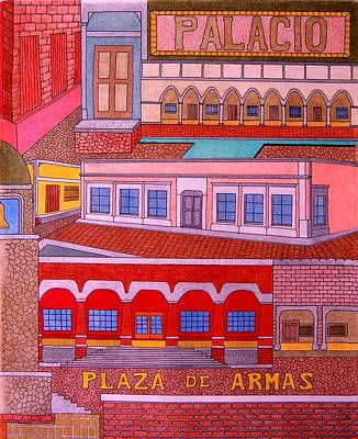Drawing - Plaza De Armas by Gregory Carrico