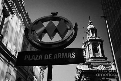 plaza de armas metro station near Santiago Metropolitan Cathedral Chile Art Print by Joe Fox
