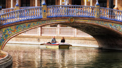 Plaza De Espana Rowboats Print by Joan Carroll
