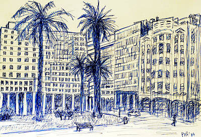 Exotic Plants Drawing - Plaza Independencia Montevideo Uruguay by Paul Sutcliffe