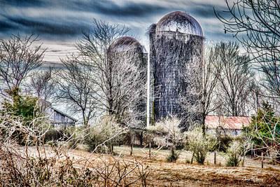 Photograph - Farm - Barn - Silos - Pleasant Hill Barns 2 by Barry Jones