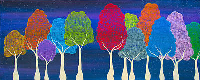 Painting - Please Don't Lick The Sherbet Trees by Andrea Youngman