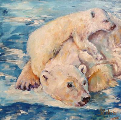 Painting - You Need Another Nap, Polar Bears by Sandra Cutrer