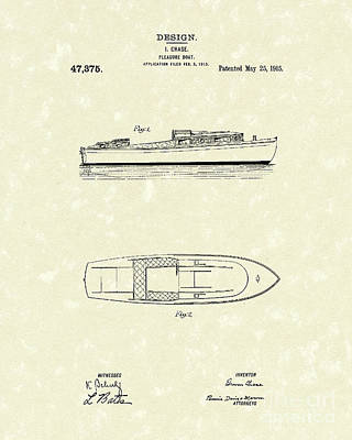 Pleasure Boat 1915 Patent Art Art Print