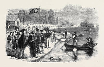 Water Play Drawing - Pleasure Boats On The Ornamental Water In Regents Park by English School