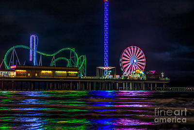 Carnivals Photograph - Pleasure Pier At Night by Tod and Cynthia Grubbs