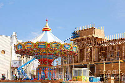 Photograph - Pleasure Pier Galveston - Carousel Construction by Connie Fox