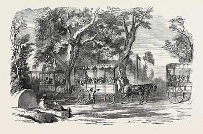 Chateau Drawing - Pleasure Vans. School Childrens Hampton-court Holiday by English School