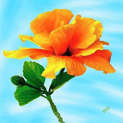 Pleasure - Yellow Double Hibiscus Art Print by Ben and Raisa Gertsberg