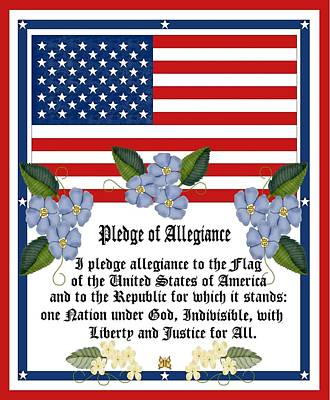 Bunting Digital Art - Pledge Of Allegiance by Anne Norskog