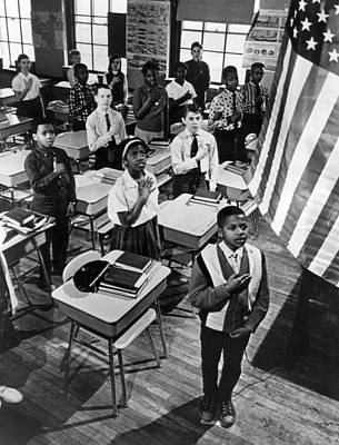 Classroom Photograph - Pledge Of Allegiance by Retro Images Archive