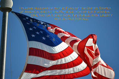 Photograph - Pledge Of Allegiance - United States Flag by rd Erickson