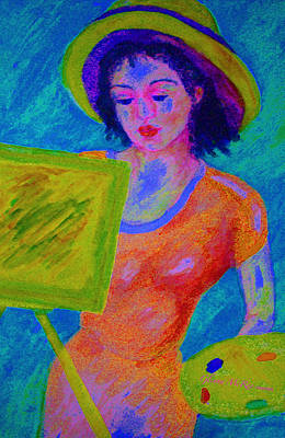 Plein Air Artist  In The Flow Art Print by Glenna McRae
