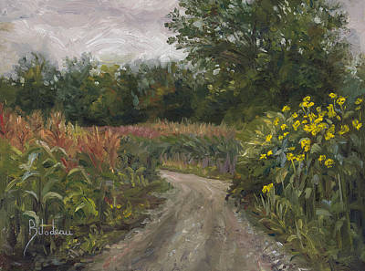 Cloudy Painting - Plein Air - Corn Field by Lucie Bilodeau