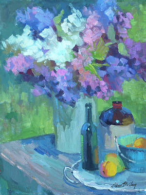 Wine Bottle Painting - Plein Air Lilacs by Diane McClary