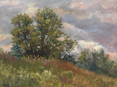 Cloudy Painting - Plein Air - Near The Chicopee River by Lucie Bilodeau