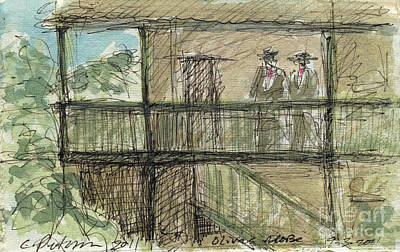 Sepia Ink Drawing - Plein Air Sketchbook. Olivas Adobe Ventura California Concert 9.3.2011. Men In Traditional Costume by Cathy Peterson