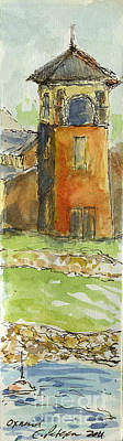 Plein Air Sketchbook. Oxnard California 2011. The Bay And Tower At Wooley Road Plaza Art Print by Cathy Peterson