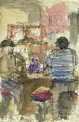 Billiard Drawing - Plein Air Sketchbook. Stix Billiard Room. Ventura California. June 30. 2012. Boys At The Bar by Cathy Peterson