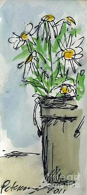 Plein Air Sketchbook. Ventura California 2011.  Tall Bucket Of Daisies From My Backyard Print by Cathy Peterson
