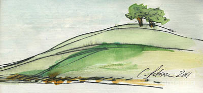 California Watercolor Artists Painting - Plein Air Sketchbook. Ventura California 2011.  Two Trees On A Hill by Cathy Peterson
