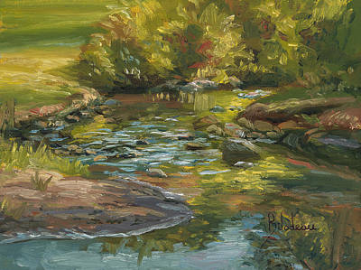 New England Painting - Plein Air - Stream In Forest Park by Lucie Bilodeau