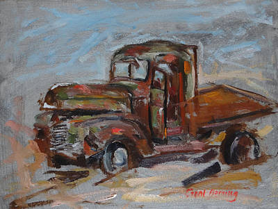 Painting - Plein Air Study Of International Truck At Farm Auction by Carol Berning