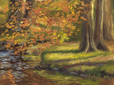 New England Fall Painting - Plein Air - Trees And Stream by Lucie Bilodeau