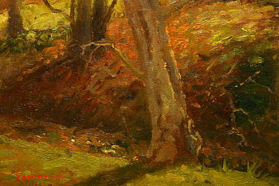 Painting - Plein Air Winter Trunks by Terry Perham