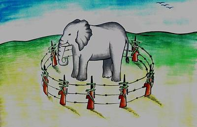 Painting - Plight Of Elephants by Tanmay Singh