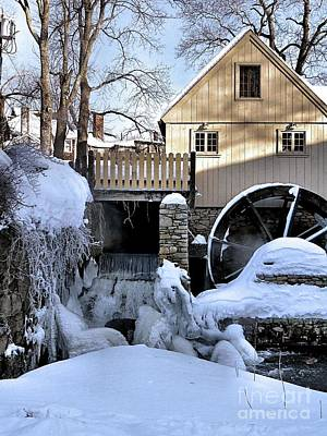 Photograph - Plimoth Grist Mill In Winter by Janice Drew