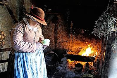Plimoth Plantation  Pilgrim Fireplace Cooking Art Print
